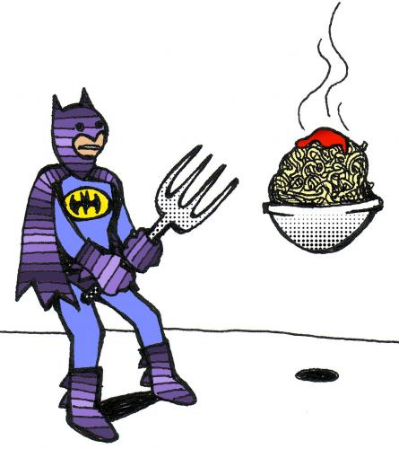 Cartoon: Batfork (medium) by Peter Russel tagged bat,fork,spaghetti