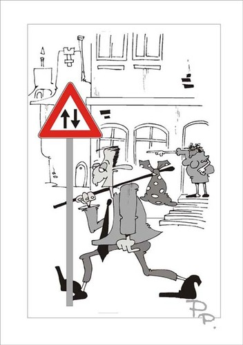 Cartoon: Traffic sign (medium) by paraistvan tagged is,it,way,also,sign,traffic,you,can,ride