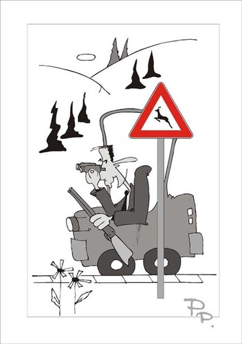 Cartoon: Traffic sign (medium) by paraistvan tagged sign,traffic,hunting