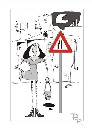 Cartoon: Traffic sign (medium) by paraistvan tagged sign,traffic,woman