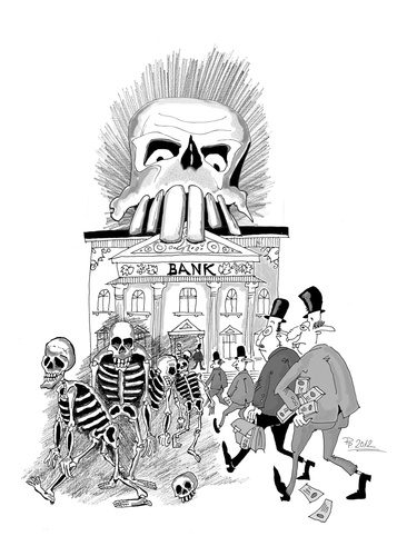 Cartoon: Tributo a Jose Guadalupe Posada (medium) by paraistvan tagged robbering,skeleton,bank,posada,guadalupe,jose