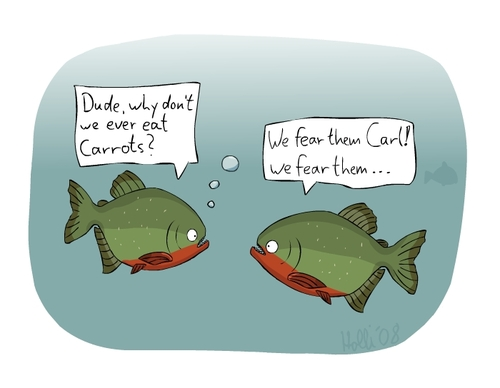 Cartoon: Piranhas (medium) by thomas_hollnack tagged piranhas,carrots