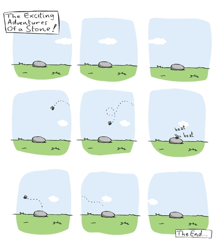 Cartoon: the exciting adventures of a sto (medium) by thomas_hollnack tagged stone,fly,life,time