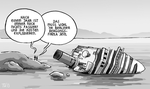 Cartoon: BER-gungsarbeiten (medium) by Tobias Wieland tagged costa,concordia,italien,schettino,kreuzfahrt,schiff,berlin,flughafen,ber,wowereit,platzek,skandal,bau,verzögerung,untergang,havarie,urlaub,mammut,projekt