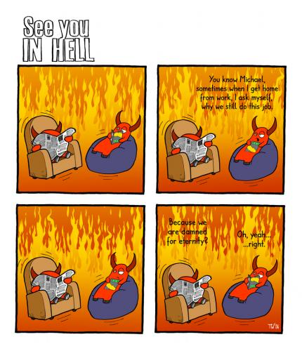 Cartoon: See you in hell (medium) by Tobias Wieland tagged see,you,in,hell,hölle,teufel,devil,religion,fun,funny,humor,humour,