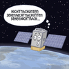 Cartoon: ... (small) by Tobias Wieland tagged satellit,erde,höhenangst,höhe,angst,all,weltraum,orbit,umlaufbahn