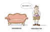 Cartoon: Neues aus der Wortspielfabrik (small) by Tobias Wieland tagged bayer,bayern,wortspiel,kalauer,schüttelwort,biedermeier,sofa,oktoberfest,couch,lederhosn