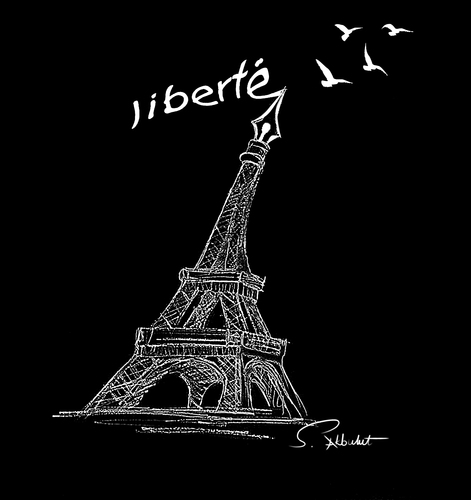 Cartoon: liberte (medium) by semra akbulut tagged liberte,özgürlük,teror,semra,akbulut,france