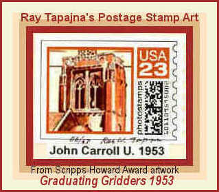Cartoon: JCU Tower US Stamp Art (medium) by ray-tapajna tagged john,carroll,university,1953,tower,stamp,art,ray,tapajna,scripps,howard,award,newspaper,illustration