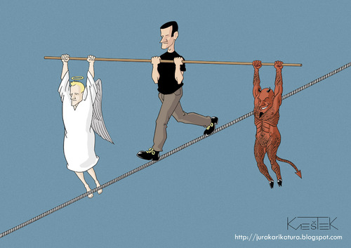 Cartoon: Balance (medium) by Jura Karikatura tagged angel,devil,balance,jura,karikatura