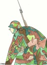 Cartoon: guernica camouflage (small) by emraharikan tagged guernica,camouflage,war,soldier