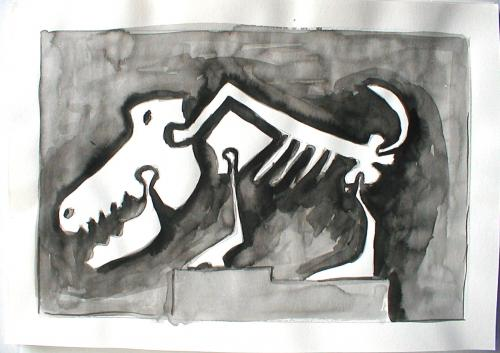Cartoon: dinoknochen hund (medium) by daPinsli tagged tusche,dinosaurier,