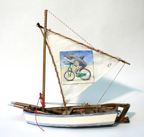 Cartoon: fish on a bike (medium) by daPinsli tagged painting,object,