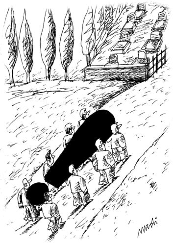 Cartoon: Curiously died (medium) by Medi Belortaja tagged funeral,burial,mark,exclamation,died,curiously