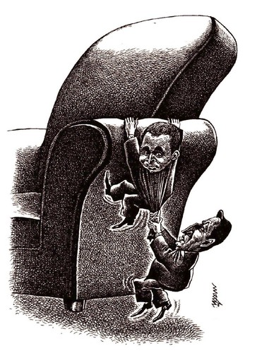 Cartoon: struggle for power (medium) by Medi Belortaja tagged heads,chair,power,politicians,elections