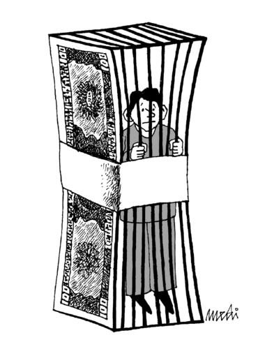Cartoon: prison cash (medium) by Medi Belortaja tagged prisoned,prison,jail,usd,imprisoned,cash,money,slavery,man