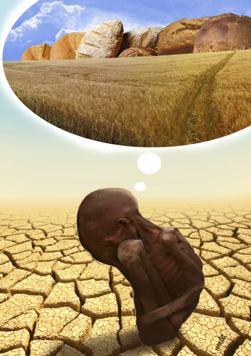 Cartoon: african dream (medium) by Medi Belortaja tagged african,dream,africa,hunger,cracked,area,plant,wheat,bread,poverty