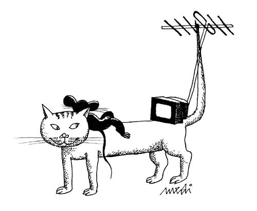 Cartoon: antenna (medium) by Medi Belortaja tagged tv,watching,cat,mouse,antenna,tail,humor