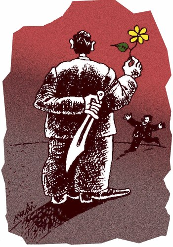 Cartoon: treachery (medium) by Medi Belortaja tagged infidelity,knife,flower,treachery