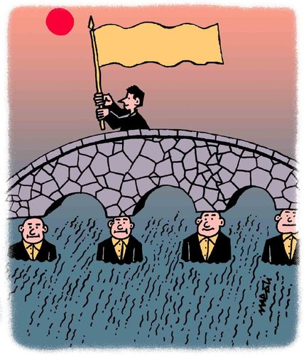 Cartoon: bridge winner (medium) by Medi Belortaja tagged winner,bridge,staandarfbearer,servants,column