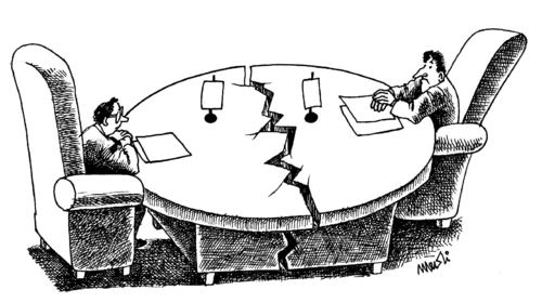 Cartoon: broken conversations (medium) by Medi Belortaja tagged conversations,broken,rounded,table,negotiations,politicians