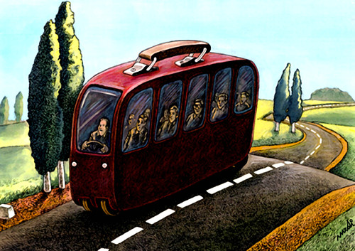 Cartoon: bus of migrants (medium) by Medi Belortaja tagged poverty,immigration,emmigrants,bus