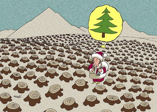 Cartoon: christmas (medium) by Medi Belortaja tagged disasters,natural,forest,trees,cut,nature,christmas,spruce