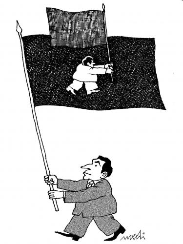 Cartoon: political directions (medium) by Medi Belortaja tagged directions,political,flag,flags