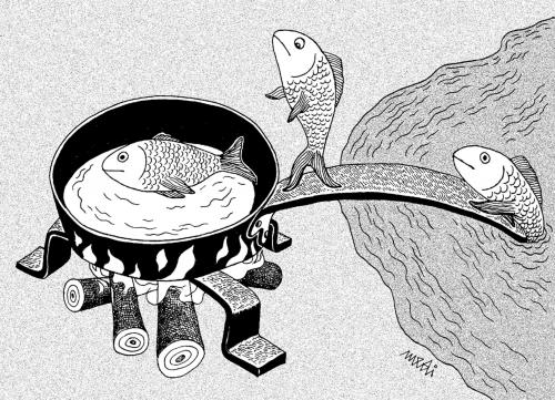 Cartoon: go fish to pan (medium) by Medi Belortaja tagged humor,sea,pollution,ecology,pan,fish