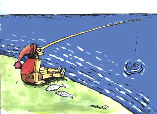 Cartoon: fishing (medium) by Medi Belortaja tagged pinocchio,fishing