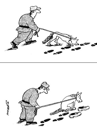Cartoon: following footsteps (medium) by Medi Belortaja tagged footsteps,following,traces,dog,humor,vanished