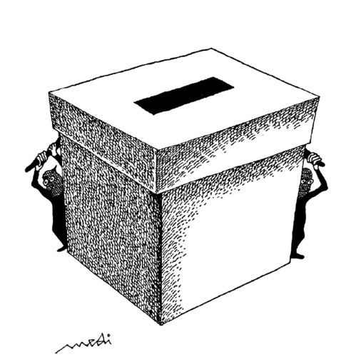 Cartoon: free elections (medium) by Medi Belortaja tagged terror,manipulation,fear,box,ballot,elections,free