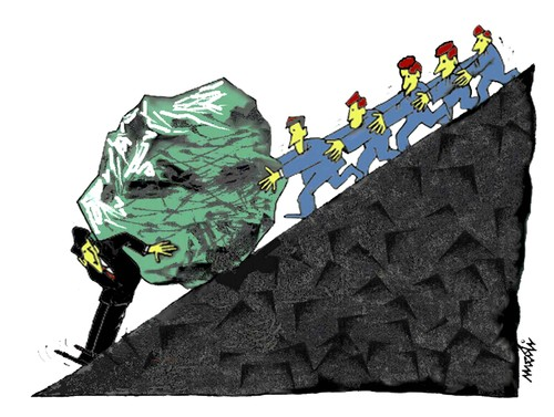 Cartoon: friends (medium) by Medi Belortaja tagged servants,chief,leader,head,politics,business,colleagues,boulder,people,push,enemies,stone,sisyphus