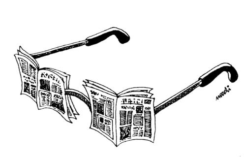 Cartoon: glasses of newspapers (medium) by Medi Belortaja tagged news,newspapers,glasses
