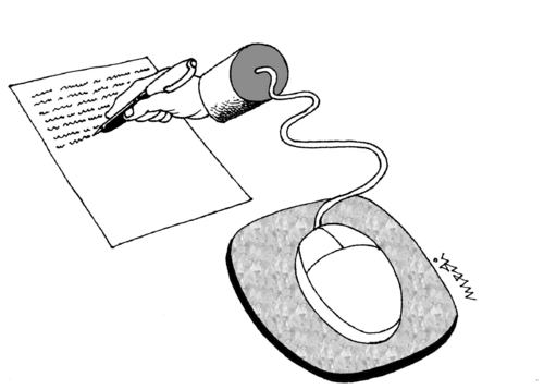 Cartoon: hand and mouse (medium) by Medi Belortaja tagged digital,mouse,hand,writing,pen