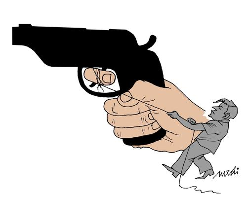 Cartoon: hand the real (medium) by Medi Belortaja tagged murder,killer,kill,gun,hand