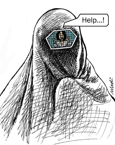 Cartoon: human rights (medium) by Medi Belortaja tagged human,imprisoned,jail,prison,help,women,woman,burka,rights