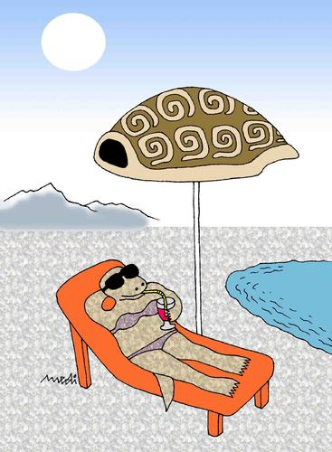 Cartoon: turtles on the beach (medium) by Medi Belortaja tagged humor,holidays,shell,tent,beach,turtles