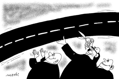 Cartoon: inauguration of new road (medium) by Medi Belortaja tagged scissors,road,inauguration