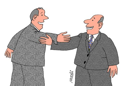 Cartoon: handshake (medium) by Medi Belortaja tagged handshake,heads,politics