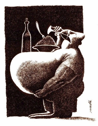 Cartoon: insabiatility (medium) by Medi Belortaja tagged table,macho,eat,drinking,food,belly,obese,obesity,eating,insabilitiaty