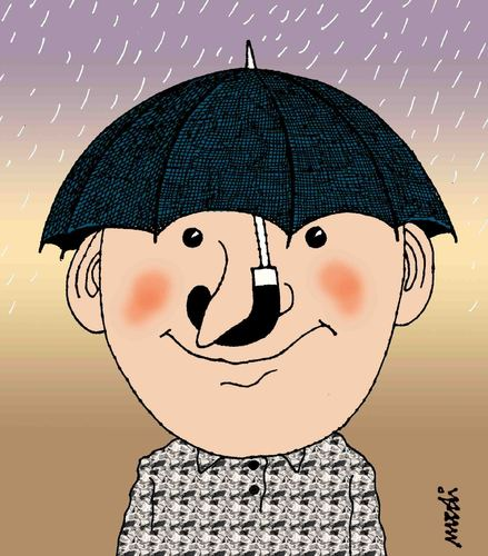 Cartoon: umbrellas hats (medium) by Medi Belortaja tagged hat,umbrellas,raining