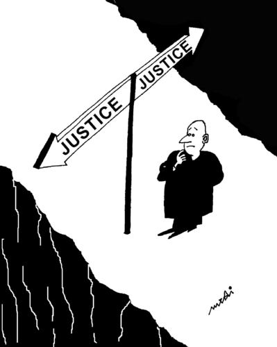 Cartoon: justice (medium) by Medi Belortaja tagged justice,abyss,direction,sign