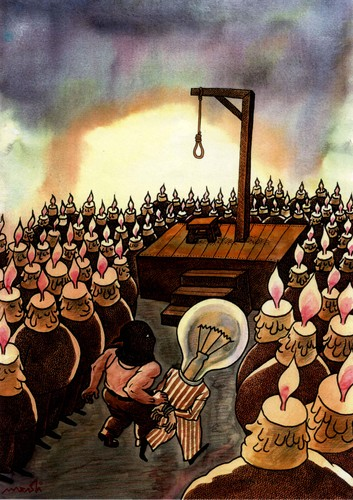 Cartoon: candles and bulb (medium) by Medi Belortaja tagged death,hanging,light,bulb,candle,lamp,idea