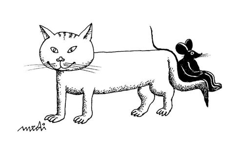 Cartoon: new best friends (medium) by Medi Belortaja tagged tail,chair,cat,mouse,friends