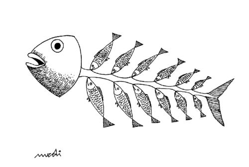 Cartoon: generations of young and old (medium) by Medi Belortaja tagged bones,fish,generations