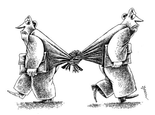 Cartoon: partners and angry (medium) by Medi Belortaja tagged junction,heads,men,hate,conflict,friendship,angry,partners