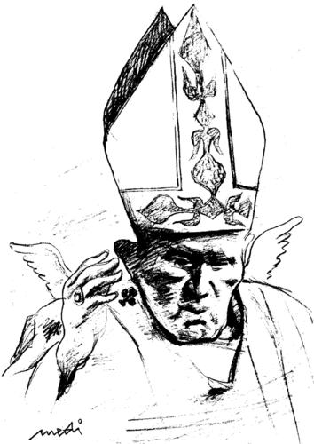 Cartoon: Pope Wojtyla angel (medium) by Medi Belortaja tagged angel,wojtyla,pope