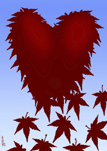 Cartoon: red leaves (medium) by Medi Belortaja tagged love,autumn,heart,leaf,leaves,red
