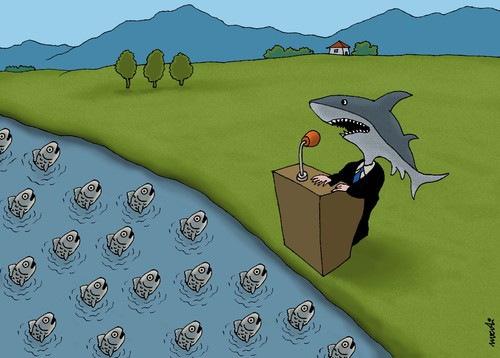 Cartoon: shark and fishes (medium) by Medi Belortaja tagged politics,speech,leader,head,peoples,people,politicians,elections,meeting,fishes,fish,shark